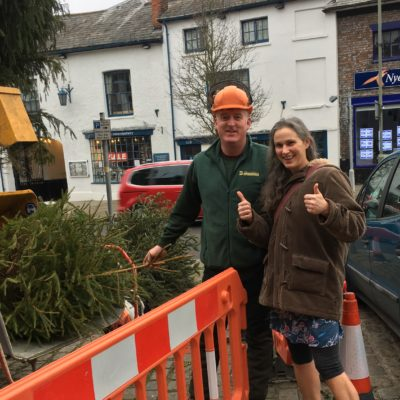 Jim Broadmead chipping Christmas trees for charity