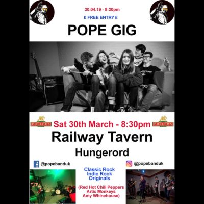 Poster of Pope Band - 30th March at teh Railway Tavern Hungerford